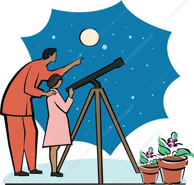 Man with daughter looking through telescope, illustration