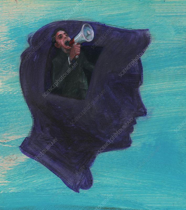 Man yelling into megaphone, illustration