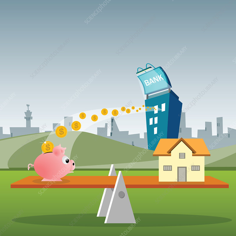 Model home and a piggy bank on a seesaw, illustration