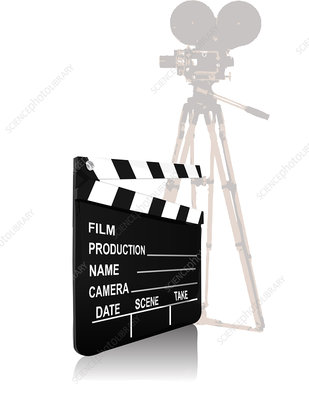 Movie camera with a film slate, illustration