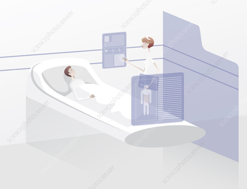 Nurse examining patient on virtual screen, illustration