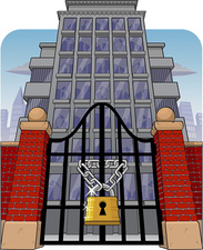 Office building with main gate locked, illustration