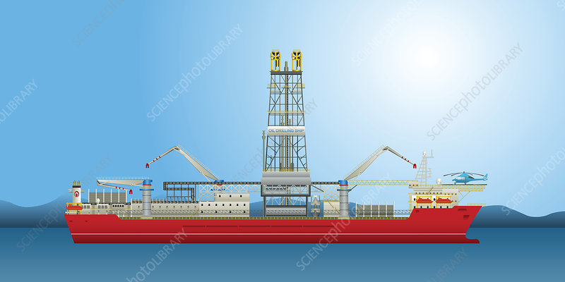 Oil well drilling ship, illustration