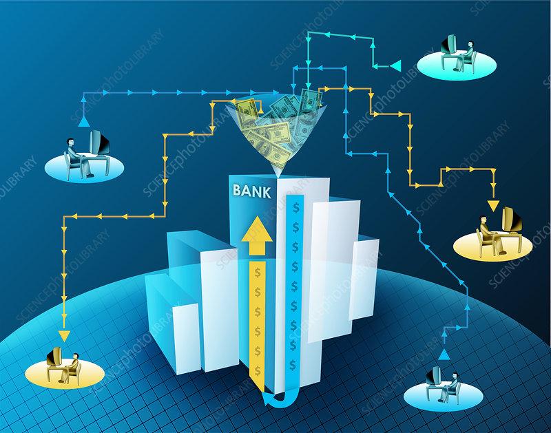 Online banking, illustration