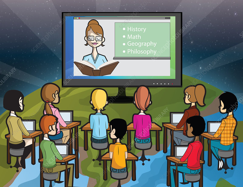 Online education, illustration