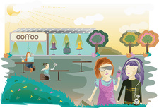 People at a solar energy powered cafe, illustration