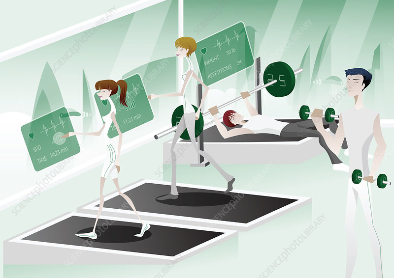 People workout in a hi-tech gym, illustration