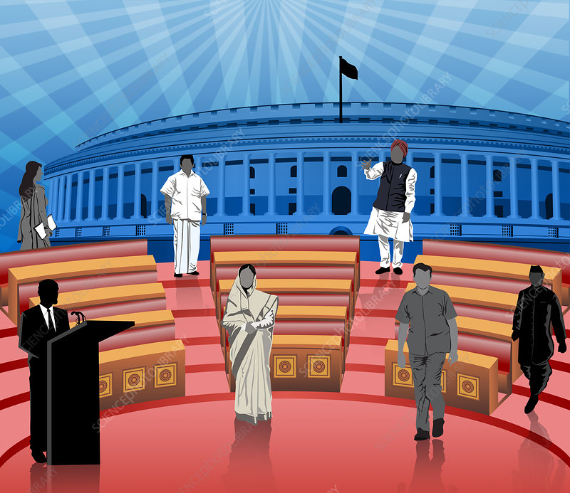 Politicians in front of parliament, illustration