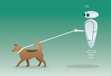 Robot walking dog outdoors, illustration