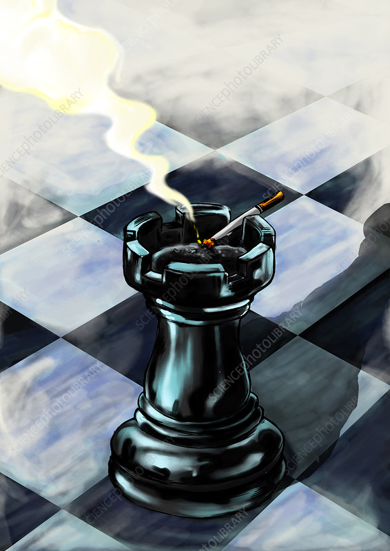 Rook used as an ash tray a chess board, illustration