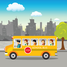 School bus on its way, illustration