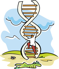 Scientist moving up on a DNA ladder, illustration