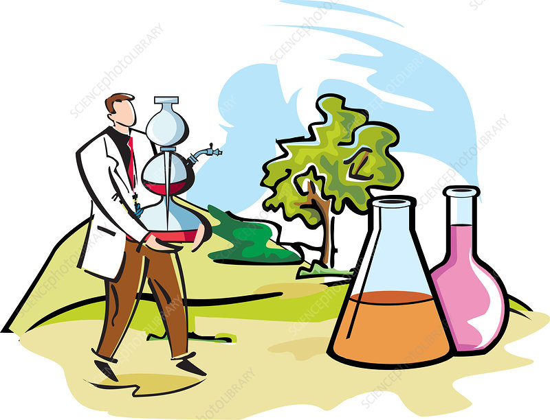Scientist performing experiments, illustration