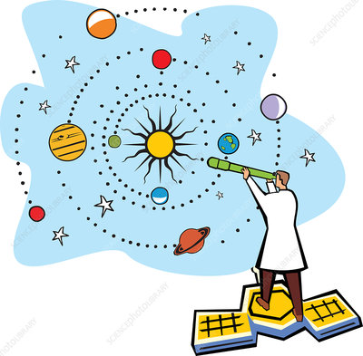 Scientist standing on a satellite, illustration