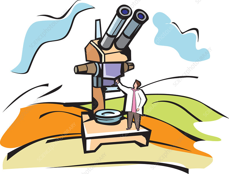 Scientist standing with a microscope, illustration