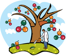 Scientist watering an atomic structure tree, illustration
