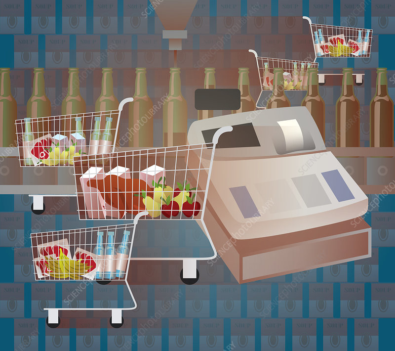 Shopping cart in a supermarket, illustration