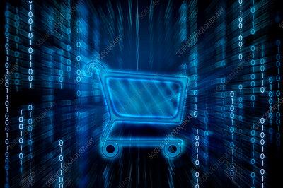 Shopping cart on binary digits, illustration