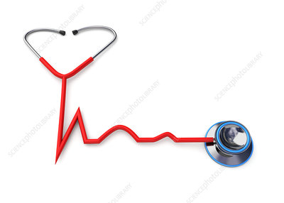 Stethoscope forming a heartbeat shape, illustration