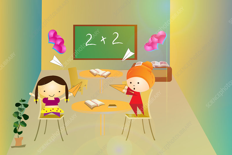 Students having fun in a classroom, illustration