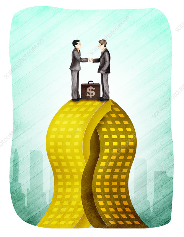 Two businessmen merging company, illustration