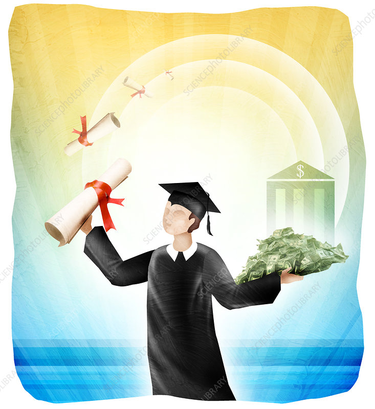 University student holding diploma and money, illustration