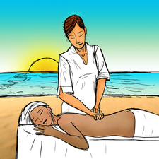 Woman receiving back massage, illustration