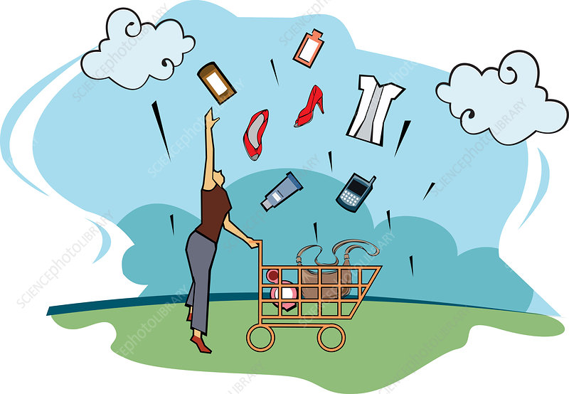 Woman tossing her shopping products, illustration