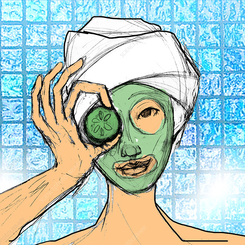Woman with face mask, illustration