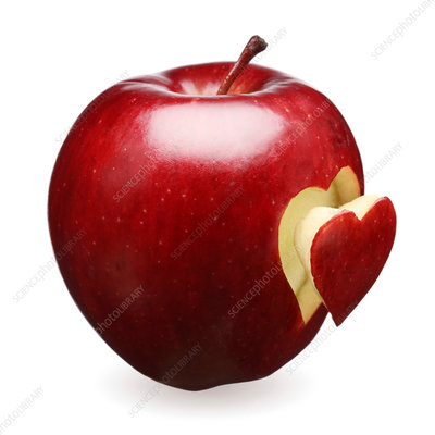 Red apple with heart shape