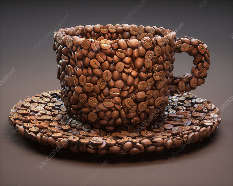 Coffee beans in shape of coffee cup, illustration