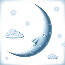 Moon with clouds and stars, illustration