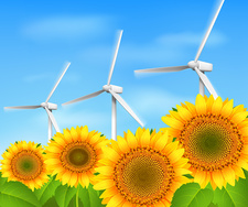 Sunflowers and wind turbines, illustration