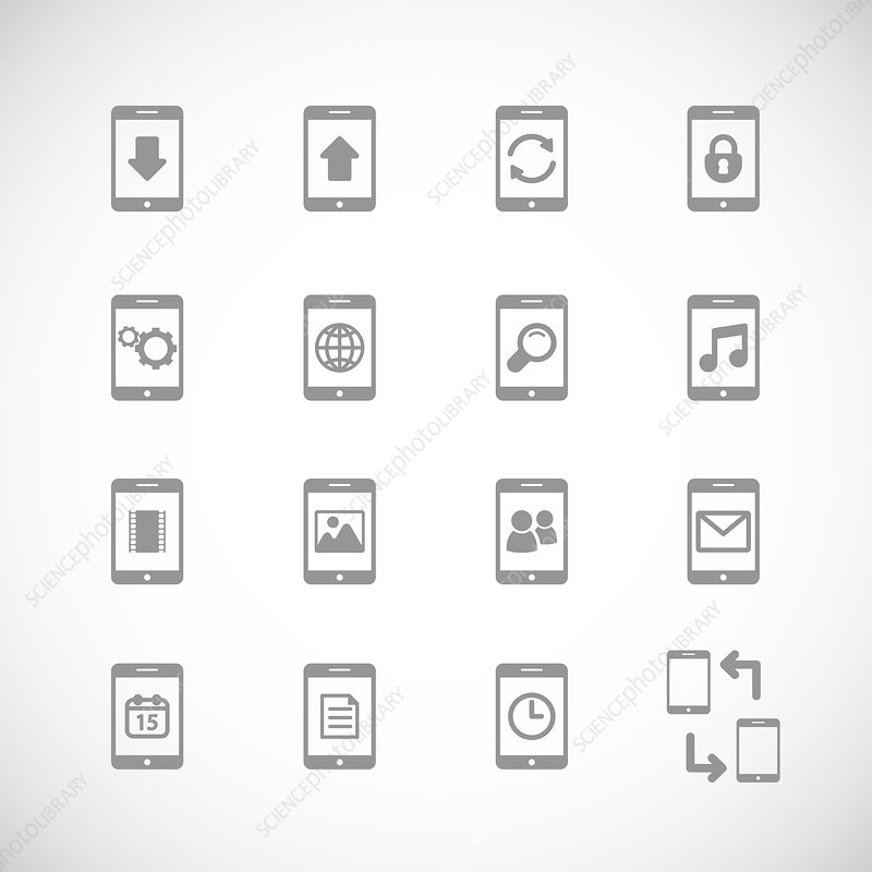 Mobile icons, illustration