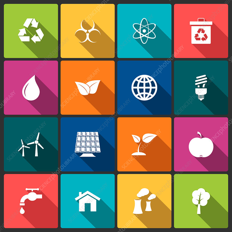 Green and energy icons, illustration