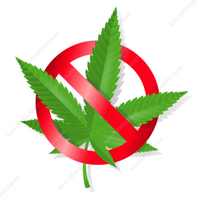 Stop marijuana sign, illustration