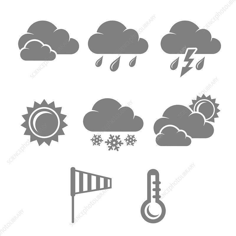Weather icons, illustration
