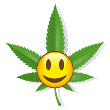 Smiling cannabis sign, illustration