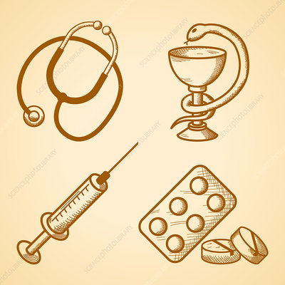 Medical items, illustration