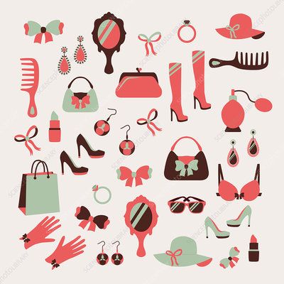 Woman's accessories, illustration