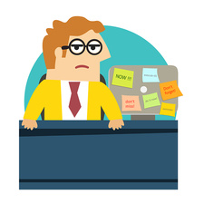 Worried office worker, illustration