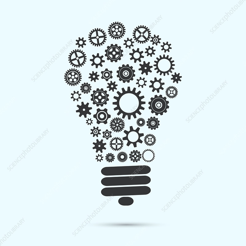 Light bulb made from cogs and gears, illustration