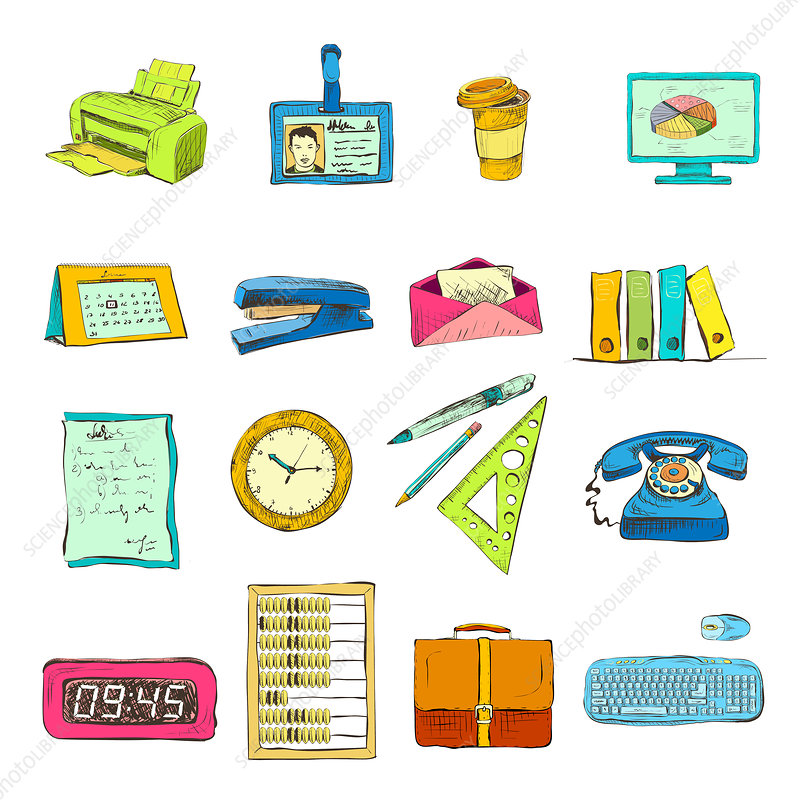 Office supplies, illustration