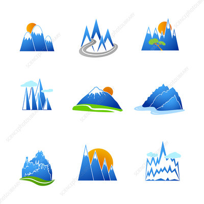 Mountain icons, illustration