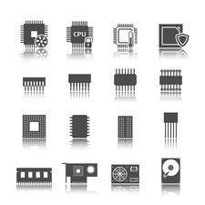 Computer component icons, illustration