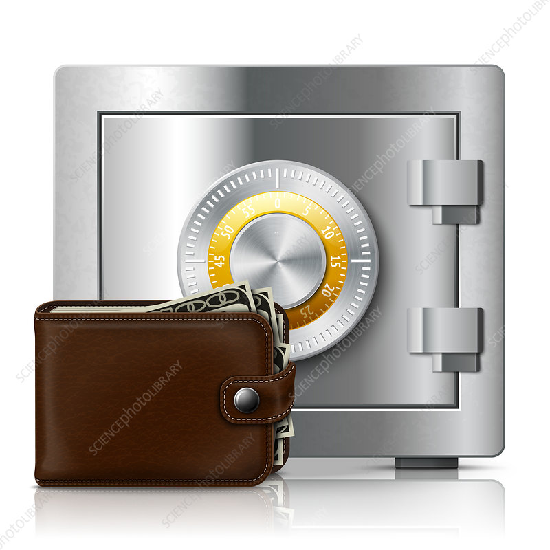 Safe with wallet, illustration