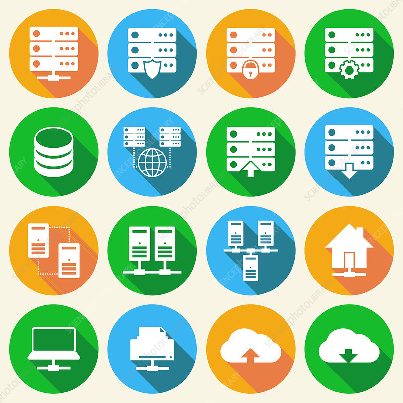 Internet infrastructure icons, illustration