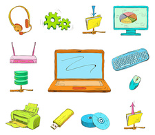 Computer and accessories, illustration