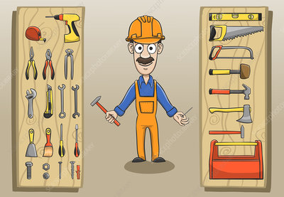 Construction worker and tools, illustration
