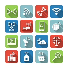 Wireless communication icons , illustration